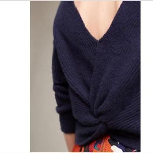 Anthropologie Pullover Ribbed Twist Back Sweater