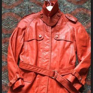 🍁 VTG Trench coat leather in burnt orange 70s 80s