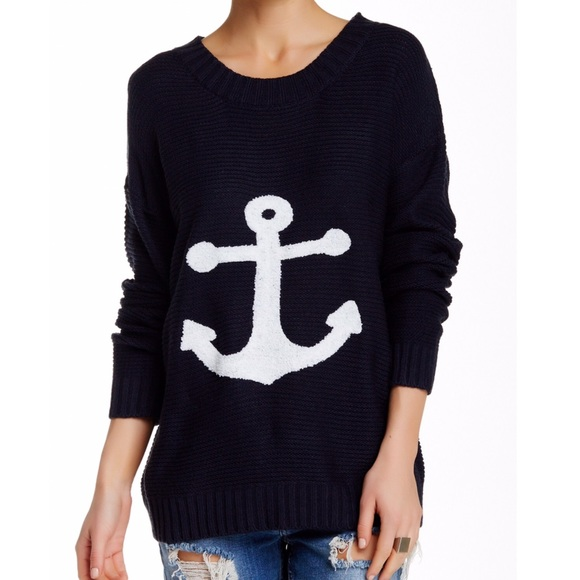 68% off Pink Owl Sweaters - Pink Owl Anchor Knit Navy Crew Neck ...