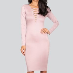 WOW Couture Faux Lace Up Midi Dress Wineberry- LG
