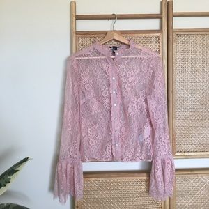 Pink Sheer Lace Button Up Top