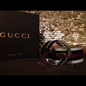 White green red classic Gucci belt 30-40 waist men