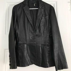 Aqua Leather Blazer