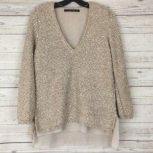 Zara Knit gold sequin chiffon hem high low sweater