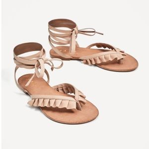 Zara Flat Leather Sandals with Frills