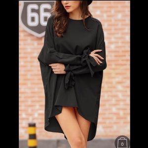 Ribbon Bow sleeves black tunic dress