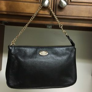 Coach black Pebbled leather LG Wristlet