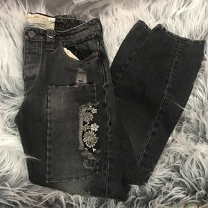 Free People Floral Embroidered Patchwork Jeans