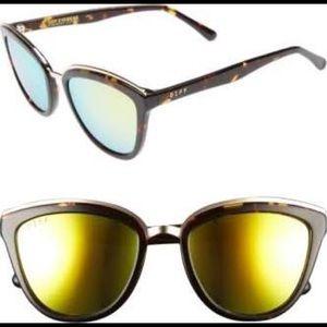 Diff Rose Sunglasses (tortoise frame, yellow lens)