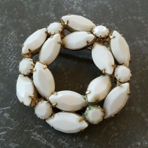 Vintage Milk Glass brooch