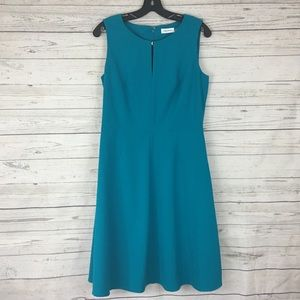 Calvin Klein teal fit and flare sleeveless dress