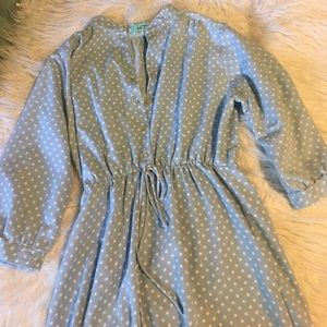 Karlie chambray style polka dotted dress