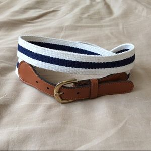 Navy and Leather Belt