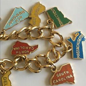 Vintage States Charm Bracelet