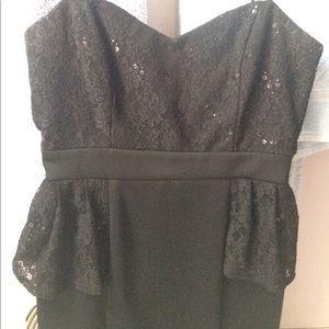 Black lace top mini dress size 3/4