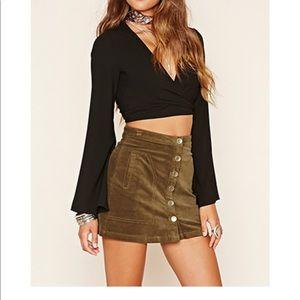 Velvet Button Front Mini Skirt