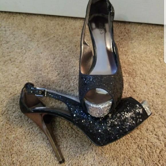 088908d74b61 Guess Shoes | Black Silver Sequin Peep Toe Pumps | Poshmark