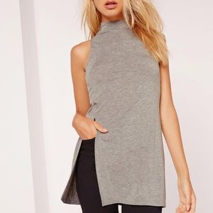 MISSGUIDED Split Front Sleeveless Grey Tunic