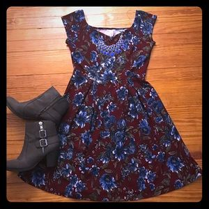 Wine floral fit and flare dress