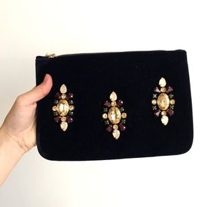Velvety jeweled pouch or clutch NWT