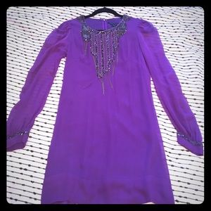 Purple Sheer Sleeve Mini