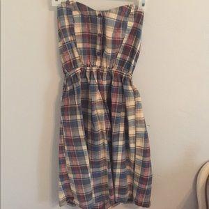 Plaid strapless scrunch back dress