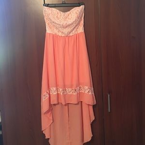 Peach hi-lo dress with lace detailing