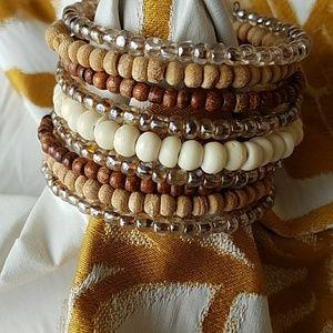 Wood and bead cuff bracelet