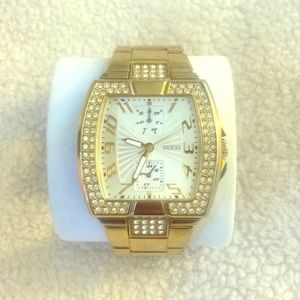 Gold Guess multi-dial watch