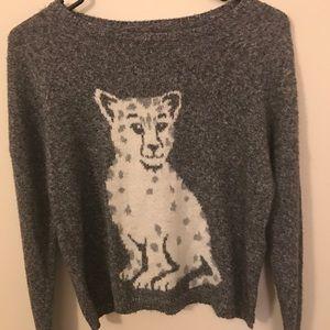 Hollister Gray Mixed Cheetah Sweater Size Small