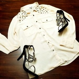Jewel studded button up top