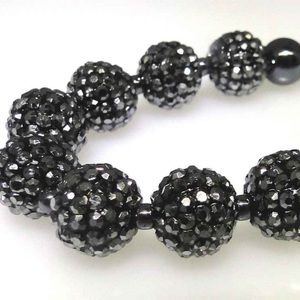 Hematite and rhinestone bead necklace, new, no tag