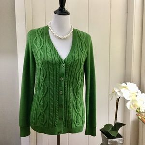 TALBOTS Grass Green Cotton Cable Knit Cardigan