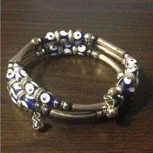 3 Tiered Evil Eye Bracelet with Bells