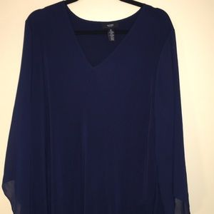 Alfani navy blue tunic top with flows sleeves 3x
