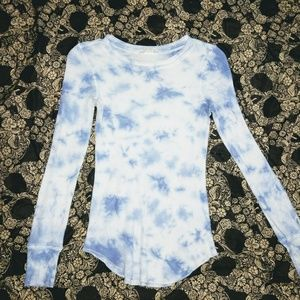 Blue and White Tie Dye Thermal Top