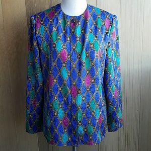 Vintage 80s jewel tone button up blouse