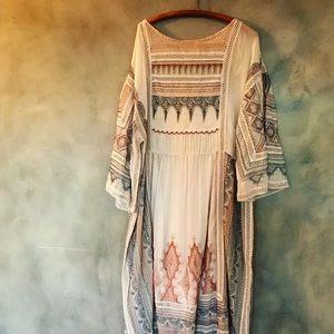 Anthropologie embroidered kaftan dress