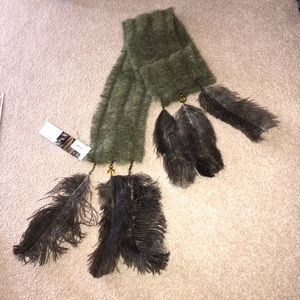 Rare Mohair, Merino Wool & Ostrich Feather Scarf