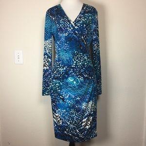 Calvin Klein blue teal white stretchy dress 6