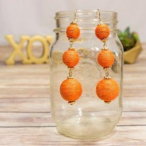 Orange Fishhook Earrings