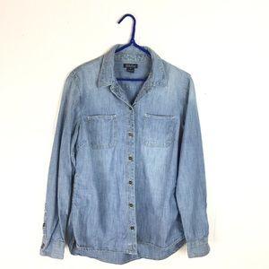 Lucky Brand Classic Denim Button Down Shirt Top