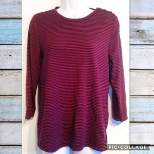 🎃5for$25🎃 LOFT Maroon & Navy Striped Button Top