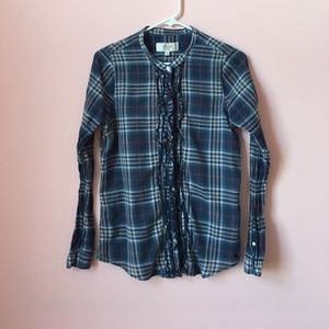 Navy Plaid Button Up Blouse