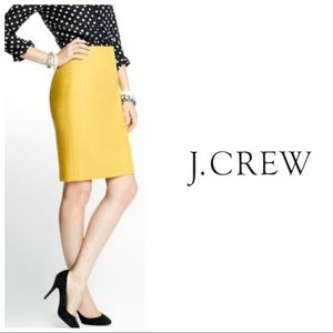 J. Crew No. 2 Pencil Skirt in Wool Yellow