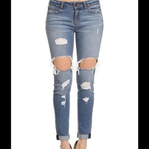 Enjean Distressed Destroyed roll-up jeans 877fc0a95e