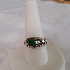 Jewelry - Rough Cut Brazilian Emerald Sterling Silver Ring