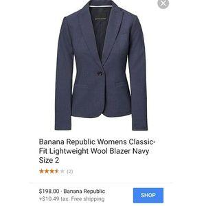 Banana Republic Classic Navy Wool Blazer