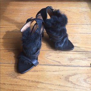 Zara Faux Fur Heels