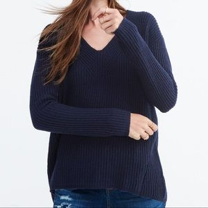 Navy Madewell Woodside Pullover Sweater